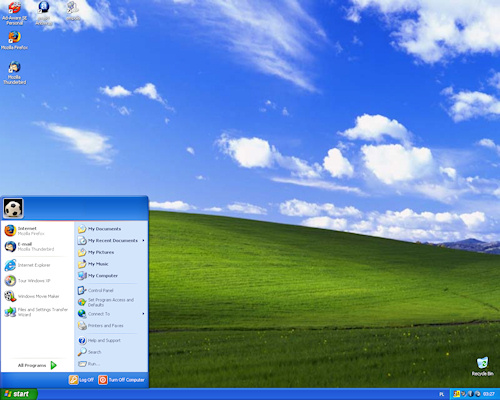 windows XP po instalaci