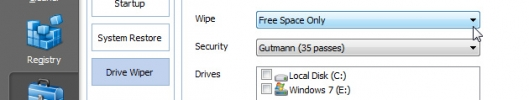 CCleaner wipe free space